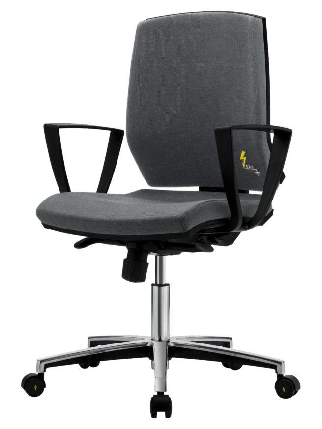 sedia antistatica da ufficio con ruote e braccioli