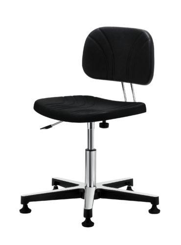 ESD-Drehstuhl aus Voll-Polyurethan schwarz mit Rücklehne Gref Work 228