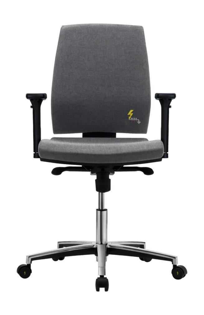 ESD-Drehstuhl für Büro und Labor mit niedriger Rückenlehne und verstellbaren Armlehnen Gref 262