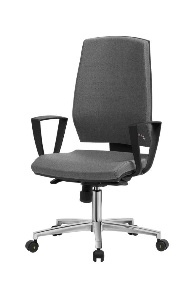ESD-Stuhl für Büro und Labor mit hoher Rückenlehne und festen Armlehnen Gref 260F