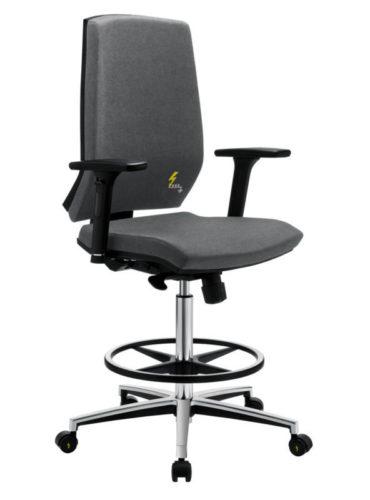 ESD Bürodrehhocker und ESD Laborhocker mit hoher Rückenlehne und verstellbaren Armlehnen Gref 270