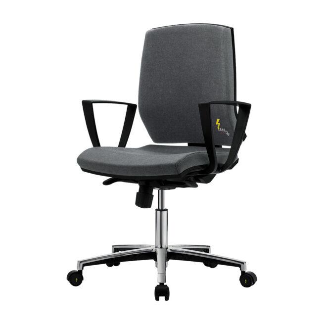 Ergonomischer ESD-Stuhl ERGONOMY mit höhe Rückenlehne, ESD-Bürostuhl ERGONOMY aus Öko-Leder, schwarz, mit Armlehnen, hohe Rückenlehne, Aluminium-Fußring