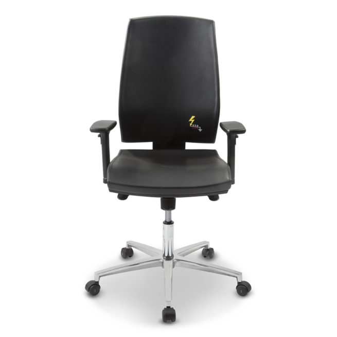 Ergonomische ESD-Bürostuhl mit Armlehnen aus Öko-Leder