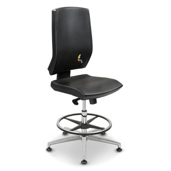ESD-Bürostuhl ERGONOMY aus Ökoleder, schwarz, hohe Rückenlehne, Aluminium-Fußring