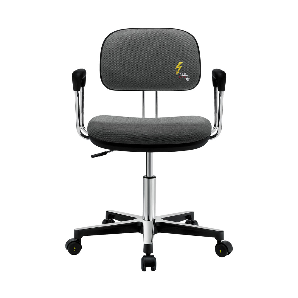 ESD-Drehstuhl mit Textilpolster Rollen und Armlehnen Gref 250